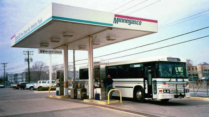 1992 MVTA bus filling up with natural gas