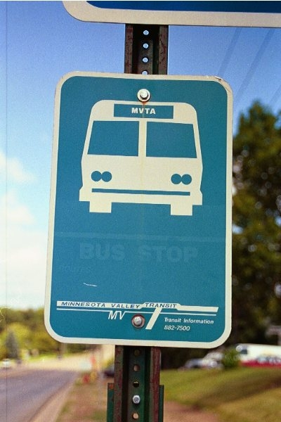 1999 bus stop sign