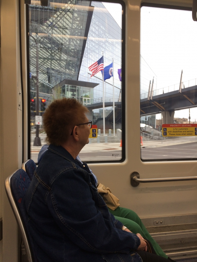 Riding the Blue Line past US Bank Stadium