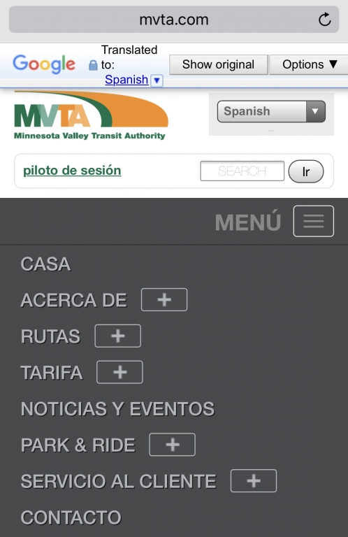 MVTA bus information is available online in more than 100 languages.