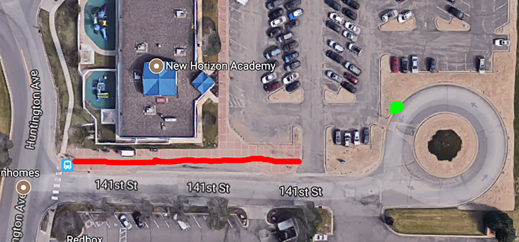 Beginning Saturday, Oct. 14, a temporary loading area (in green) will be used at the Savage Park and Ride to accommodate sidewalk construction (in red).